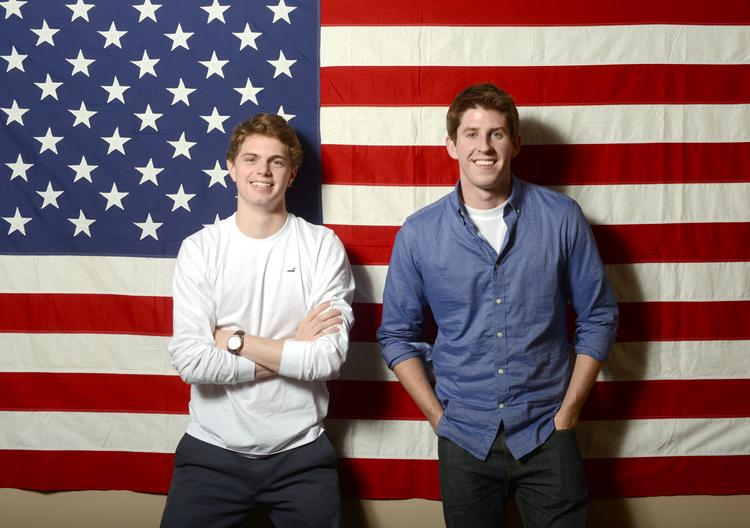 Great Lakes co-founders David Burke, left, and Spencer Barrett launched the apparel company while in college. They've posted online sales of $75,000 this year.