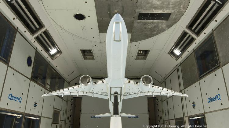 Here's a 777X in a wind tunnel in Farnborough, England.