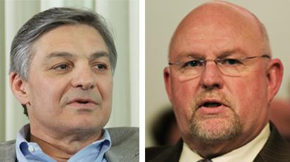 """Talks between Boeing Commercial Airplanes CEO Ray Conner, left, and Machinists District 751 President Tom Wroblewski, right, broke down Thursday after union leaders rejected Boeing's """"final offer."""""""