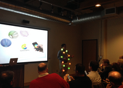 Chris Corrado, CEO of Lumenplay, makes his pitch wearing a string of the company's smartphone-controlled lights.