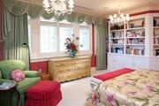 The master bedroom has plantation shutters and classic millwork.