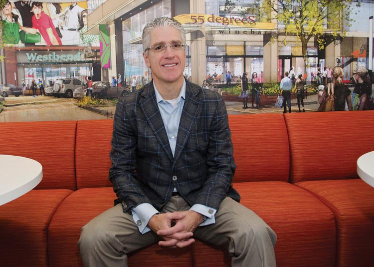 Terry Montesi, founder of Trademark Property Co., in front of a rendering of a redevelopment project. Background: Founder, CEO and chairman of Trademark Property Co. in Fort Worth. Former principal and co-founder of the real estate firm Huff, Brous, McDowell & Montesi Inc.  Latest Project: Leading the $100 million Victory Park redevelopment.