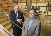Chairman Ralph Hawkins and Dan Noble, president & CEO of HKS. Hawkins planned ahead to pass the torch of the architecture firm.