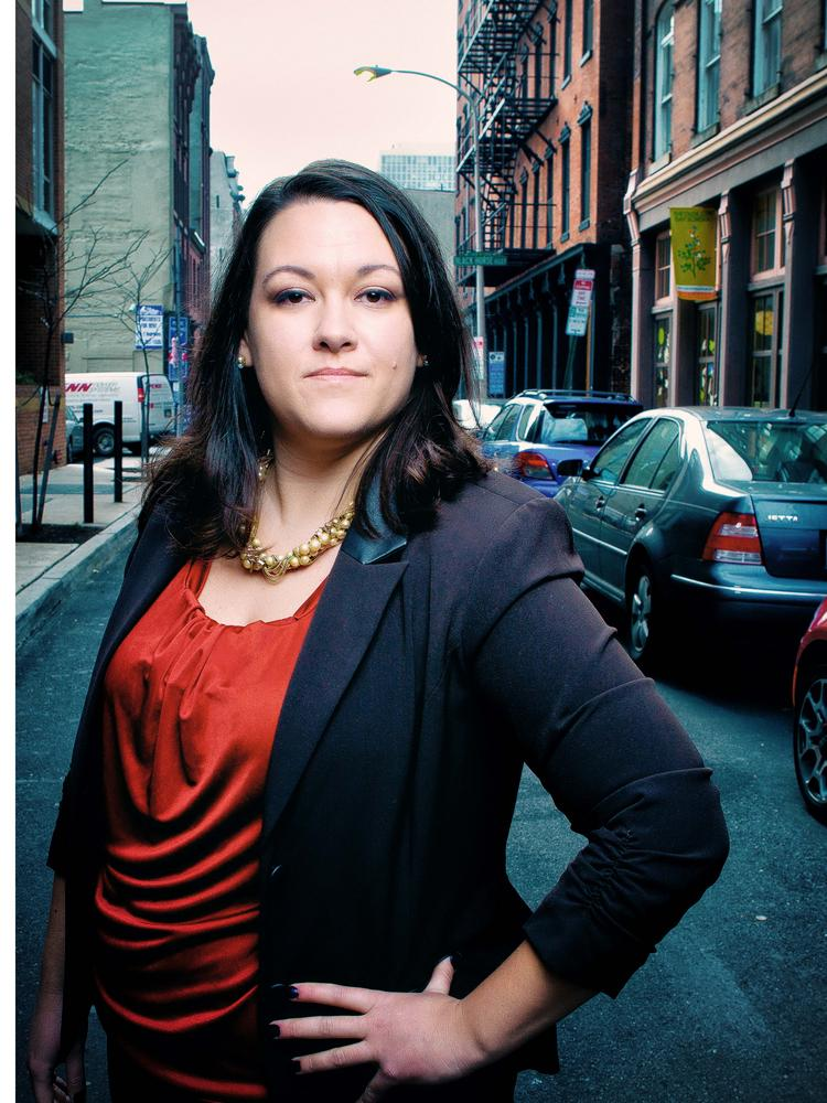 Amy Larrimore, managing partner at The Empire Builders Group, on Letitia Street in Old City.