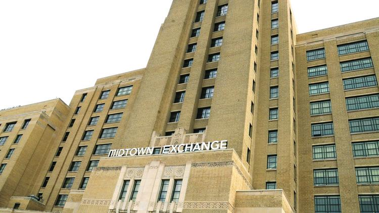 The Sheraton Minneapolis Midtown Hotel is connected to the Midtown Exchange (pictured).