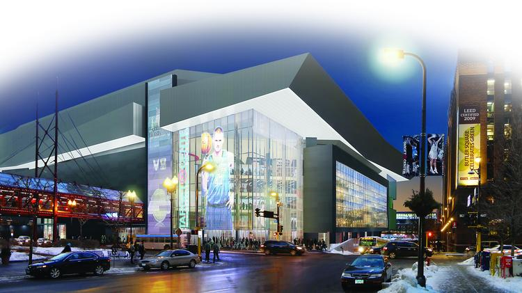 An early concept rendering of what a renovated Target Center might look like. The city is in the process of selecting an architect and construction firm for the $97 million project.