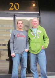 Jerid Martel and Matt Ross stand in front of their new location on Jefferson Street.