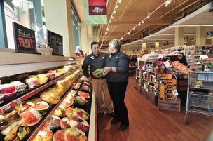 Produce manager Gary Bolton and store manager Stephanie LaMountain at Price Chopper Limited, Market Center, Saratoga, NY.