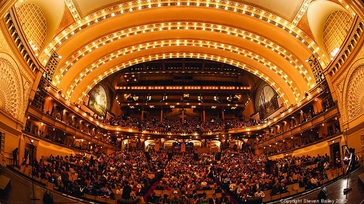 The view from the stage of Chicago's Auditorium Theatre.  The performing arts venue turns 125 years old in 2014.