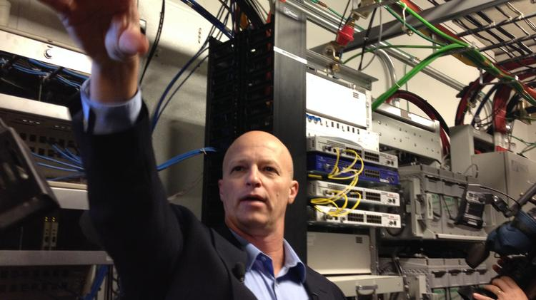 Inside the bowls of Bank of America Stadium, AT&T maintains an infrastructure hub for all of its wireless and Wi-Fi network at Bank of America Stadium, explains Paul Bodford, N.C. director of network engineering at AT&T.