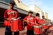 The Atlanta Braves' drumline entertained movie goers as they entered the theater.