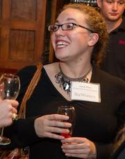 Suzy Finn of Young Professionals of Wichita at the BizWomen Holiday Mix and Mingle Tuesday night at The Loft at 420, 420 S. Commerce.