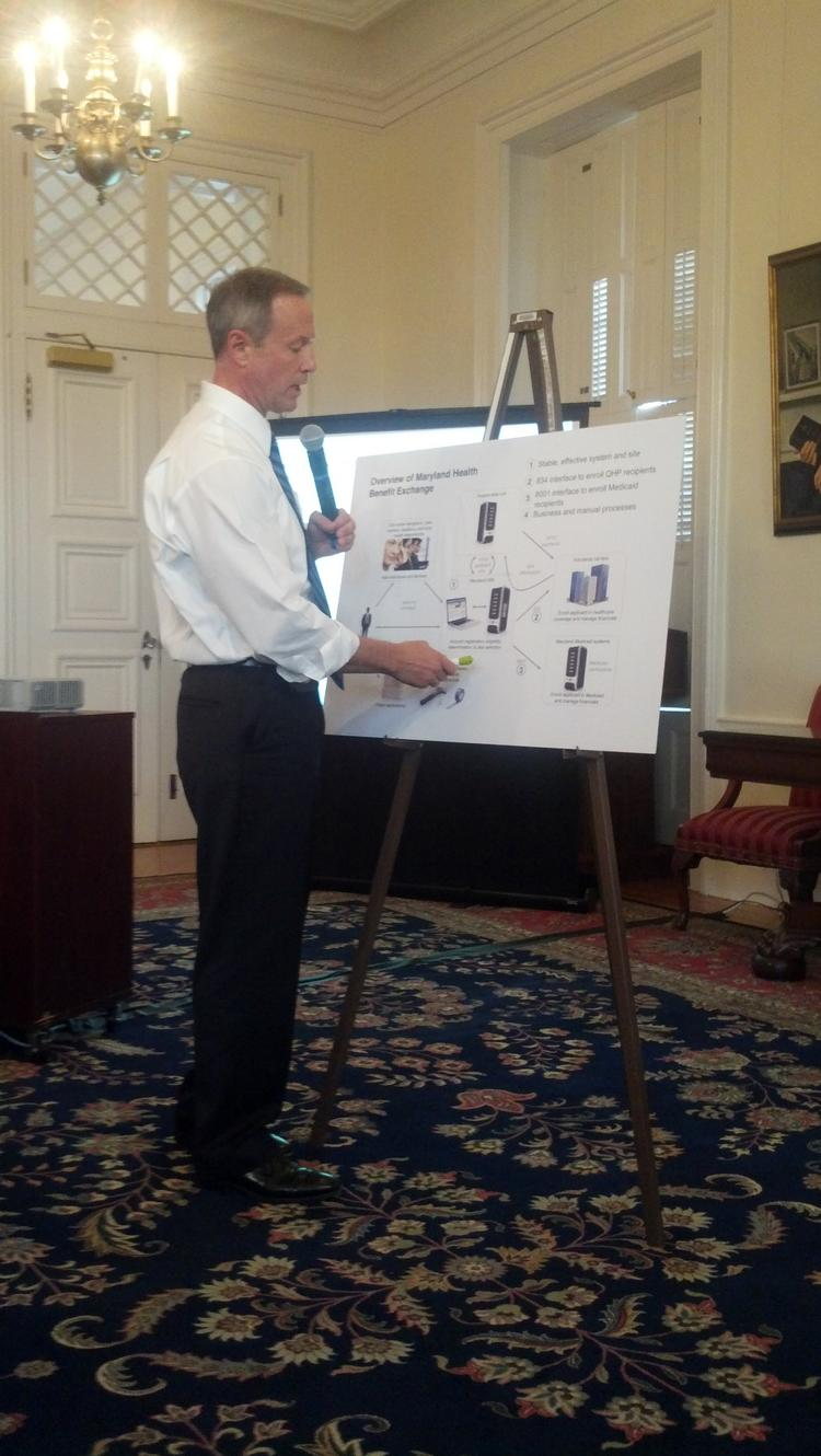 Gov. Martin O'Malley addressed reporters at the State House about the Maryland health insurance exchange's problems. He took a more casual approach, using charts and graphs to explain the state's progress.