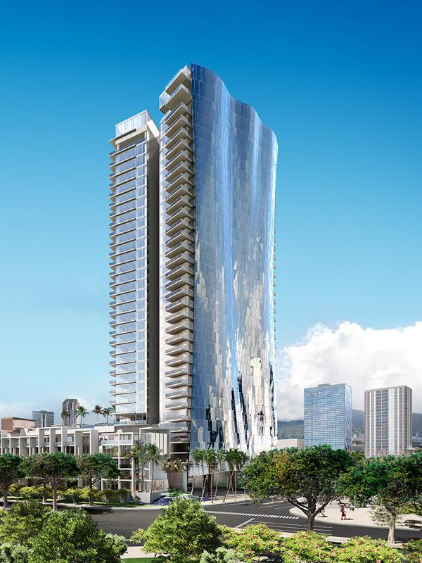 This rendering depicts the Waiea condominium tower planned for The Howard Hughes Corp.'s Ward Village in Honolulu.