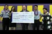 The Bank of Hawaii Charitable Foundation recently presented Damien Memorial School with a $50,000 check to help fund the school's $12 million capital campaign for a new athletic building, a music building and student services center, among other things.  From left: Jeffrey Callangan, Bank of Hawaii; Cori Weston, Bank of Hawaii; Bernard Ho, Damien's president and CEO; John Hulihee, Bank of Hawaii, and Donna Tanoue, Bank of Hawaii and president of the Bank of Hawaii Charitable Foundation.