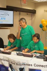 THe Hawaiian Telcom team, from left, Jan Ota, John Komeiji and JoAnn Yosemori help to answer the phones at the Rehabilitation Hospital of the Pacific's Radiothon last month during the Perry and Price KSSK morning show to support the hospital's capital campaign.