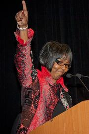 City Year's Maureen Alphonse-Charles gave an enthusiastic acceptance speech at the Boston Business Journal's WomenUp awards breakfast.