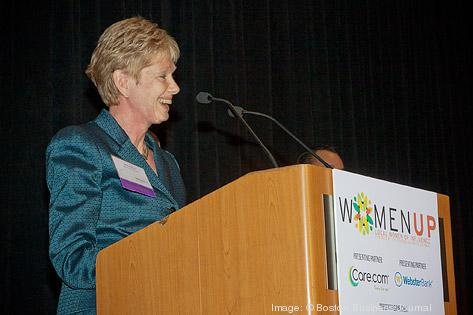 MassDevelopments Marty Jones accepts her Wome Up award at the Boston Business Journal's awards breakfast.