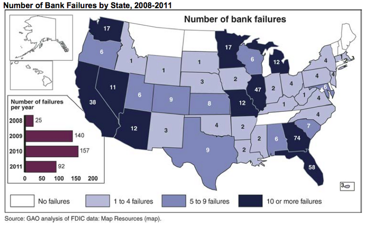Bank failures by state, 2008-2011
