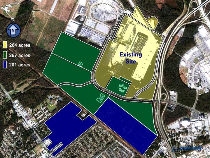 In this graphic from Boeing, the yellow is the existing site, the green is the previously announced 267-acre acquisition, and the blue is the new 201-acre acquisition.