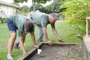 Robert Lillis, right, president of International Association of Machinists 1998, works with daughter Ana to weed and clear out grass to repaint an area on the campus at Waimanalo Elementary and Intermediate School during the first Labor of Love, a union-give back project.