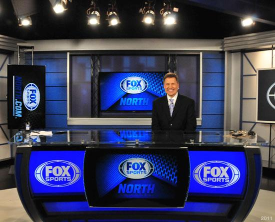 Wolves Live anchor Tom Hanneman at the anchor desk at the Fox Sports North studio in downtown Minneapolis.