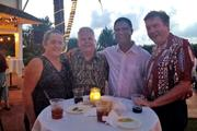 Merriman's Fish House celebrated its fourth anniversary on Kauai with a fundraiser benefitting Kauai United Way and Hale Opio. From left, Ann Marie and Bob Westerman, Kauai County fire chief; state Rep. Jimmy Tokioka and Kauai United Way Executive Director Scott Giarman.