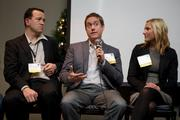 From left, CIO of the Year honorees Paul McLachlan of Apptio, Brad Schick of Skytap and Marcy Good of Mithun talk about IT during the Puget Sound Business Journal's 2013 CIO Awards. Schick was presented with the 2013 Startup Technology Leadership Award.