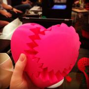 A heart made entirely from the 3D printer at the MakeShop. It took 24 hours of straight printing to produce this product that can rotate like cogs.
