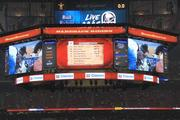 The team designed some of the space on the scoreboard to look like a smartphone, encouraging real-time engagement.