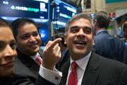 Up 69%: Nimble Storage CFO Anup Singh, left, and CEO Suresh Vasudevan, center, celebrated their company's IPO at the NYSE on Dec. 13. They raised $168 million when their San Jose hybrid storage company's stock sold at $21. It closed on Dec. 19 at $35.45. It raised more than $80 million in venture backing, with Sequoia Capital, Accel Partners and Lightspeed Venture Partners as its biggest investors.