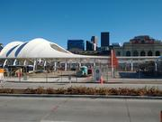 Denver Union Station and its adjacent transportation terminal under construction as they appeared in fall 2013.