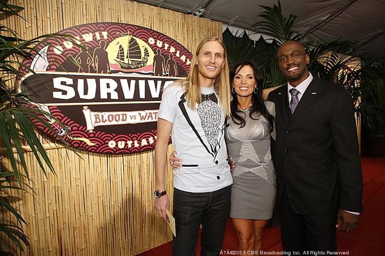 """The final three: Tyson Apolstol, Monica Culpepper and Gervase Peterson from """"Survivor: Blood vs. Water"""" during the live reunion show broadcast from Los Angeles Sunday night."""