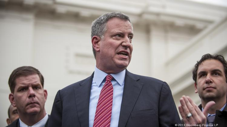 New York Mayor Bill de Blasio: Some business groups are worried about his push to raise wages, but at least one major business group supports it.