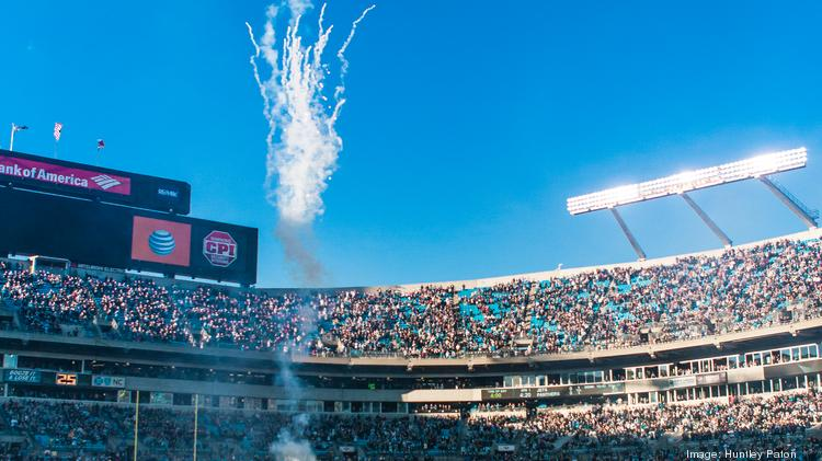 Fireworks against a clear blue sky put an exclamation mark on the National Anthem at Bank of America Stadium in Charlotte, as late afternoon shadows grow long. Flip through these slides for an up-close look at the Carolina Panthers' victory over the New York Jets.