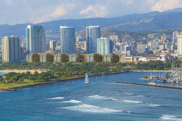 This rendering shows the -luxury condominium buildings planned for a portion of Ala Moana Center, which will be called Park Lane Ala Moana.
