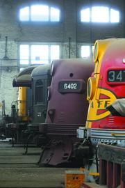 Locomotives are seen in the historic Southern Pacific Railroad shops. The Business Journal featured this photo as the cover for the Book of Lists.
