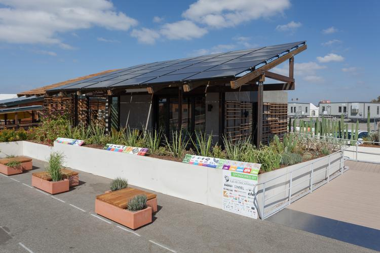 The University of New Mexico and Arizona State University designed this house, which is on display through March at Mesa del Sol, for an international energy competition called the Solar Decathlon.