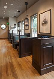 The floors in the front of Raven & Rose come from reclaimed wood first found in Kentucky horse stables. The Brandsen's company installed the eatery's floors.