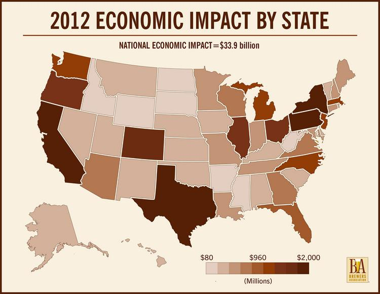 This map shows economic impact from craft beer on a state-by-state basis.
