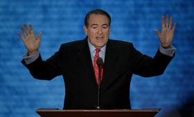 Mike Huckabee, former governor of Arkansas, speaks at the Republican National Convention (RNC) in Tampa, Florida on Aug. 29, 2012.