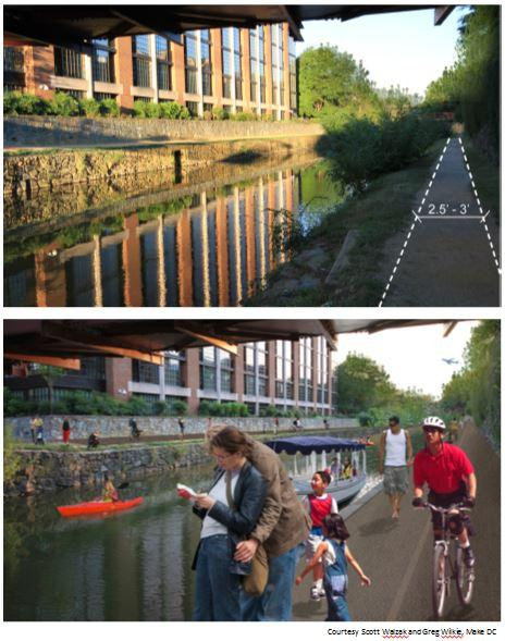 A reimagined C&O Canal towpath below, compared to what's there today. The upgrade is a key components of the Georgetown 2028 Plan.