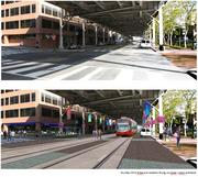 K Street today, and K Street with a streetcar, imagined.