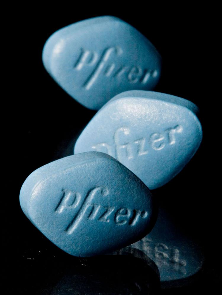 Tablets of Pfizer's erectile dysfunction drug Viagra are arranged for an illustration.
