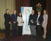 Kyle Glankler, left, a Rudolph and Sletten project manager and NextEd board chairman, and Gayle Garbolino-Mojica, far right, a Placer County Superintendent of Schools and a NextEd executive committee member, presented NextEd Salutes awards to four people. They are: Five Star Bank president and CEO James Beckwith, second from left, Project Lead the Way vice president of development Judith D'Amico, North State BIA director of workforce development Rick Larkey, and Brewer Lofgren partner Martha Clark Lofgren.