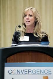 Sacramento Works chairwoman Kim Parker speaks at the NextEd convergence event on the skills gap.