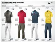 Francesco Molinari, who tied for 19th in last year's Masters, will wear these four outfits during this year's tournament. The Italian is ranked 36th in the world.