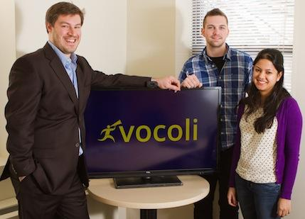 From left: Massachusetts Technology Corporation CEO and founder Richard Kneece; Justin Iacovino, CTO for Vocoli; and Sneha Dasgupta, lead designer for Vocoli. MTC is a web development company that launched a new product in September called Vocoli, which is a virtual employee suggestion box.