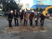 Parador Partners Managing Partner Ashish Bahl, second from left, celebrates the groundbreaking of the new Downtown parking garage with city leaders.