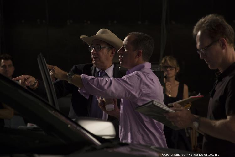 "Jerry Seinfeld worked with director Barry Sonnenfeld, in cowboy hat, on a series of commercials for Acura that will debut on the upcoming season of Seinfeld's web series ""Comedians in Cars Getting Coffee."""